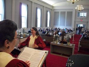 Mindy with choir